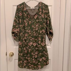 Green with pink flowers dress